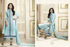Sky Blue color Pure Cotton Fabric Ban Neck Design Suit