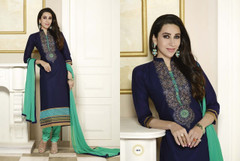 Royal Blue and Green color Pure Cotton Fabric Suit