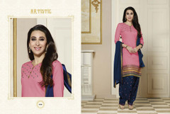 Pink and Navy Blue color Pure Cotton Fabric Suit