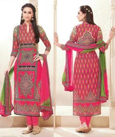 Magenta color Pure Cotton Fabric Ban Neck Design Suit