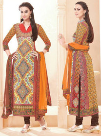 Beige and Chocolate color Pure Cotton Fabric Ban Neck Design Suit