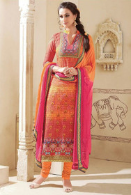 Orange color Pure Cotton Fabric Ban Neck Design Suit