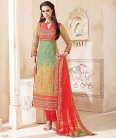 Red and Beige color Pure Cotton Fabric Ban Neck Design Suit