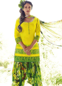 Yellow and Green color Pure Cotton Fabric Suit