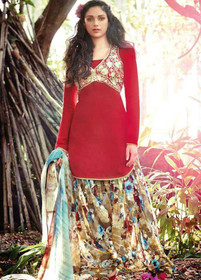 Beige Red color Pure Cotton Fabric Suit