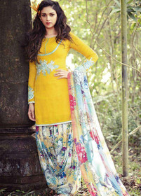 Yellow and Multicolor Pure Cotton Fabric Suit