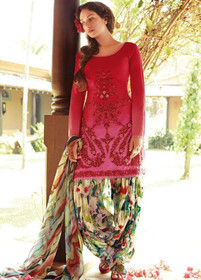 Red and Multicolor Pure Cotton Fabric Suit