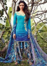 Blue and Lavender color Pure Cotton Fabric Suit