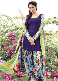 Violet and Multicolor Pure Cotton Fabric Suit