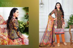 Black and Orange color Printed Pure Cotton Fabric Suit