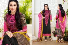 Black color Printed Pure Cotton Fabric Suit