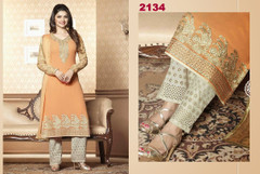 Peach and White color Georgette Fabric Printed Suit