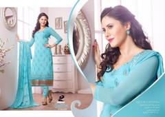 Sky Blue color Pure Cotton Fabric Printed Suit