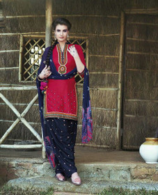 Maroon and Navy Blue color Pure Cotton Fabric Patiala Suit