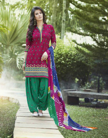 Green and Magenta color Pure Cotton Fabric Patiala Suit