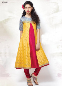 Yellow and Magenta color Centre Cut Silk Fabric Anarkali style Kids Wear Suit