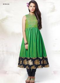 Green color Silk Fabric Anarkali style Kids Wear Suit