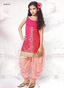 Magenta and Pink color Silk Fabric Kids Wear Suit