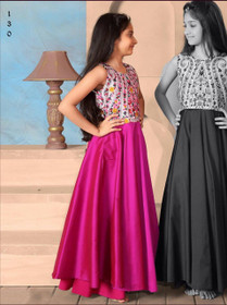 Magenta color Silk Fabric Cut Sleeves Ankle Length Kids Wear Gown