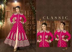 Magenta color Centre Cut Ban Neck Design Silk Fabric Suit