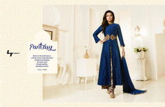 Blue color Full Sleeves Ban Neck Design Centre Cut Silk Fabric Indowestern style Suit