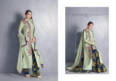 Cardamom Green color Full Sleeves Ban Neck Design Centre Cut Silk Fabric Indowestern style Suit