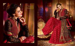 Red and Black color Full Sleeves Ban Neck Design Net Fabric Indowestern style Suit