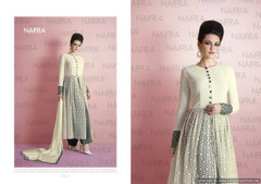 White and Grey color Net Fabric Indowestern style Suit