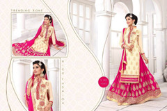 Cream and Magenta color Georgette Fabric Indowestern style Suit