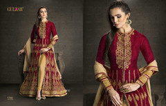 Maroon and  Golden color Silk Fabric Indowestern style Suit