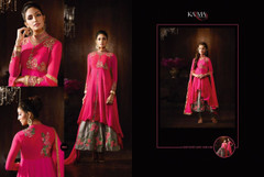 Magenta and Grey color Silk Fabric High Neck Design Indowestern style Suit