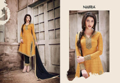 Golden and Black color Raw Silk Fabric Suit