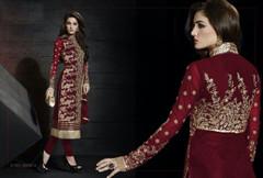 Maroon color Velvet Fabric Suit