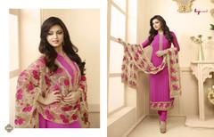 Dark Pink color Georgette Fabric Suit