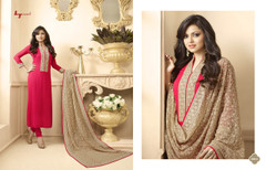 Red color Georgette Fabric Ban Neck Design Full Sleeves Suit
