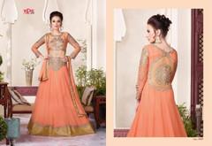 Peach color Full Sleeves Floor Length Net Fabric Anarkali style Suit