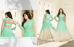 Sea Green and White color Full Sleeves Floor Length Georgette Fabric Anarkali style Suit