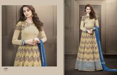 Beige color Full Sleeves Floor Length Georgette Fabric Anarkali style Suit
