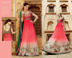Red color Full Sleeves Floor Length Georgette Fabric Anarkali style Suit