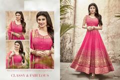 Magenta color Full Sleeves Floor Length Silk Fabric Anarkali style Suit