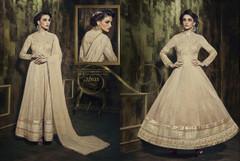 Beige color Full Sleeves Floor Length Silk Fabric Anarkali style Suit