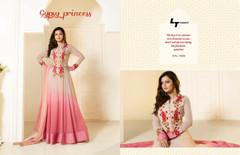 Light Pink color Ban Neck Design Full Sleeves Floor Length Georgette Fabric Anarkali style Suit