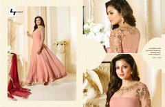 Pink color Full Sleeves Floor Length Georgette Fabric Anarkali style Suit