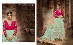 Blue and Magenta color Full Sleeves Floor Length Georgette and Silk Fabric Anarkali style Suit