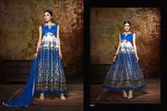 White and Blue color Printed Satin Fabric Anarkali style Suit