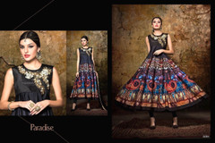 Black color Printed Satin Fabric Anarkali style Suit