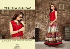 Red color Satin Fabric Indowestern Suit