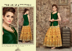 Green and Yellow color Satin Fabric Indowestern Suit