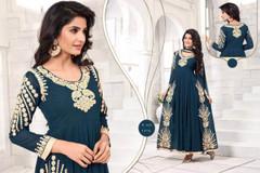 Blue color Full Sleeves Floor Length Georgette Fabric Anarkali style Suit