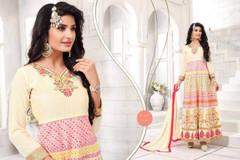 Cream color Full Sleeves Floor Length Georgette Fabric Anarkali style Suit